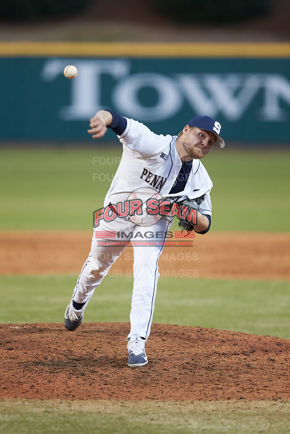 Penn State Nittany Lions relief pitcher Eric Mock (15) in action against the Xavier Musketeers at Coleman Field at the USA Baseball National Training Center on February 25, 2017 in Cary, North Carolina. The Musketeers defeated the Nittany Lions 7-5 in game two of a double header. (Brian Westerholt/Four Seam Images)