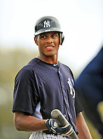 5 March 2011: New York Yankees' outfielder Justin Maxwell awaits his turn in the batting cage prior to a Spring Training game against the Washington Nationals at George M. Steinbrenner Field in Tampa, Florida. The Nationals defeated the Yankees 10-8 in Grapefruit League action. Mandatory Credit: Ed Wolfstein Photo