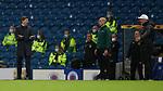 18.3.2021 Rangers v Slavia Prague: Steven Gerrard indicates Glen Kamara got the ball