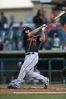 Joe DeCarlo (14) of the Modesto Nuts bats against the Lancaster JetHawks at The Hanger on September 13, 2017 in Lancaster, California. Modesto defeated Lancaster, 8-5. (Larry Goren/Four Seam Images)