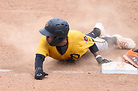 FCL Pirates Gold Jasiah Dixon (6) slides head first into third base during a game against the FCL Orioles Orange on August 9, 2021 at Ed Smith Stadium in Sarasota, Florida.  (Mike Janes/Four Seam Images)