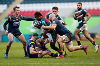 6th February 2021; Mattoli Woods Welford Road Stadium, Leicester, Midlands, England; Premiership Rugby, Leicester Tigers versus Worcester Warriors; Kini Murimurivalu of Leicester Tigers attempts to break through the Worcester Warriors defence