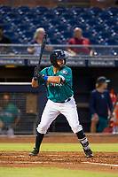 AZL Mariners second baseman Manny Pazos (21) at bat against the AZL Royals on July 29, 2017 at Peoria Stadium in Peoria, Arizona. AZL Royals defeated the AZL Mariners 11-4. (Zachary Lucy/Four Seam Images)