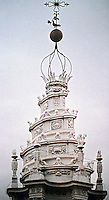 Sant'Ivo alla Sapienza. (University of Rome) The lantern of Sant'Ivo is topped with a spiral shape, surmounted by a Cross. Designed by Borromini. Baroque style.