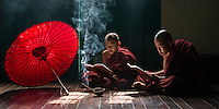 young monks studying in a monastery in Yangon, Myanmar