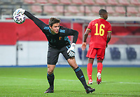 goalkeeper Senne Lammens (12) of Belgium gets ready to throw the ball during a soccer game between the national teams Under21 Youth teams of Belgium and Kazakhstan on the third matday in group I for the qualification for the Under 21 EURO 2023 , on friday 8 th of october 2021  in Leuven , Belgium . PHOTO SPORTPIX | SEVIL OKTEM