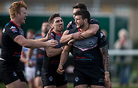 Jay Pitts of London Broncos try celebrations during the Kingstone Press Championship match between London Broncos and Rochdale Hornets at Castle Bar , West Ealing , England  on 26 March 2017. Photo by Steve Ball / PRiME Media Images.