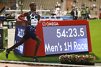 5th September 2020, Brussels, Netherlands;  Britains Mo Farah runs during the One Hour Men at the Diamond League Memorial Van Damme athletics event at the King Baudouin stadium in Brussels, Belgium. Farah set a new world record.