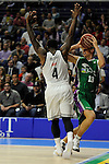 Real Madrid´s Kelvin Rivers and Unicaja´s Mindaugas Kuzminskas during 2014-15 Liga Endesa match between Real Madrid and Unicaja at Palacio de los Deportes stadium in Madrid, Spain. April 30, 2015. (ALTERPHOTOS/Luis Fernandez)