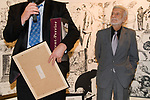 Steve Bell collects Strip Cartoon Award  from Jerry Robinson creator of Robin and The Joker London 2007. Cartoonist Dinner and award ceremony. The Mall Galleries London  2000s.