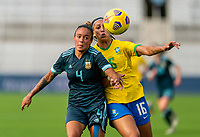 ORLANDO, FL - FEBRUARY 18: Marina Delgado #4 fights for the ball with Beatriz #16 of Brazil during a game between Argentina and Brazil at Exploria Stadium on February 18, 2021 in Orlando, Florida.