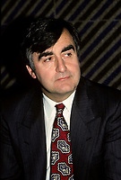 Montreal (Qc) CANADA -undated file photo circa 1989<br /> <br /> <br /> Lucien Bouchard, in an undated file photo circa 1989<br /> <br /> Bouchard joined Mulroney's Progressive Conservative government in 1988 as Secretary of State and later Minister of the Environment, serving until 1990. While still a strong Quebec nationalist, he believed that Mulroney's Meech Lake Accord was sufficient to placate nationalist feelings and keep Quebec in confederation.<br /> <br /> However, after a commission headed by Jean Charest recommended some changes to the Accord, Bouchard left the Progressive Conservatives (May 1990), feeling that the spirit and objectives of Meech were being diluted. Mulroney felt betrayed by Bouchard, and rejected his reasoning, having heard from a friend that Bouchard planned on leaving days before the Commission's report. In fact, in his memoirs Mulroney stated that trusting Bouchard was his most regretful and costliest mistake as Prime Minister. After the failure of Meech, Bouchard formed the sovereigntist Bloc Qu»b»cois, initially a faction of disaffected, separatist federal MPs and later a full-blown party, which attracted a variety of former Liberals and Conservatives.