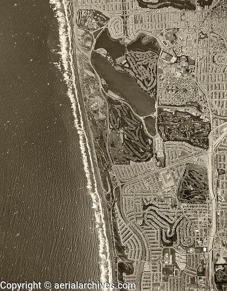 historical aerial photograph Lake Merced, Lakeshore and Broadmoor neighborhoods, San Francisco, California, 1968