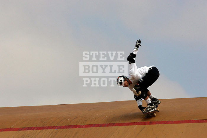 Danny Way competes in the Skateboard Big Air finals during X-Games 12 in Los Angeles, California on August 6, 2006.