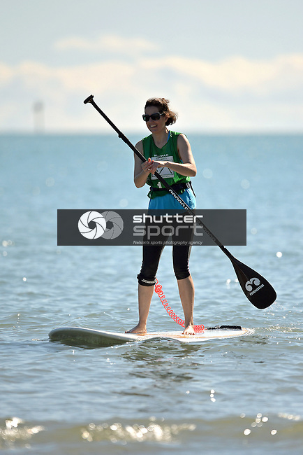 NELSON, NEW ZEALAND - SEPTEMBER 26: Paddleboarding at Tahuna during the NZCT 2015 South Island Masters Games, September 26, 2015 in Nelson, New Zealand. (Photo by Barry Whitnall/Shuttersport Limited)