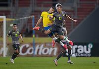 4th June 2021; Beira-Rio Stadium, Porto Alegre, Brazil; World Cup 2022 qualifiers; Brazil versus Ecuador; Richarlison of Brazil and Alan Franco of Ecuador challenge for a header