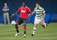July 16, 2010 Mame Biram Diouf No 48 of Manchester United and Darren Odea No. 48 of Celtic FC during an international friendly between Manchester United and Celtic FC at the Rogers Centre in Toronto.