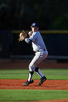 Georgetown Hoyas third baseman John Simourian (1) warmup throw to first base during a game against the Chicago State Cougars on March 3, 2017 at North Charlotte Regional Park in Port Charlotte, Florida.  Georgetown defeated Chicago State 11-0.  (Mike Janes/Four Seam Images)
