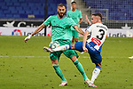 28th June 2020; RCDE Stadium, Barcelona, Catalonia, Spain; La Liga Football, Real Club Deportiu Espanyol de Barcelona versus Real Madrid; Picture show Pedrosa and Benzema