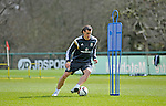 Gareth Bale in action during Wales football team training at the Vale Hotel and Resort in Cardiff today ahead of this weekend's game against Israel.<br /> Editorial use only