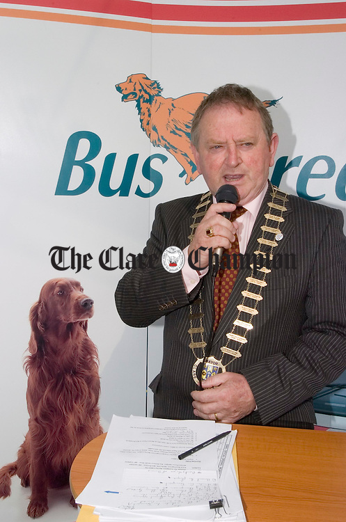 Mayor of Clare Flan Garvey speaking at the official opening of the newly refurbished Bus Eireann station at Ennis. Photograph by John Kelly.