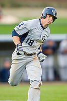 Ben Morgan (18) of the Georgia Southern Eagles hustles down the first base line against the UNCG Spartans at UNCG Baseball Stadium on March 29, 2013 in Greensboro, North Carolina.  The Spartans defeated the Eagles 5-4.  (Brian Westerholt/Four Seam Images)