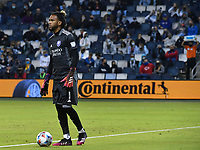 KANSAS CITY, KS - APRIL 23: Pedro Gallese #1 of Orlando City SC prepares to distribute the ball in the second half during a game between Orlando City SC and Sporting Kansas City at Children's Mercy Park on April 23, 2021 in Kansas City, Kansas.