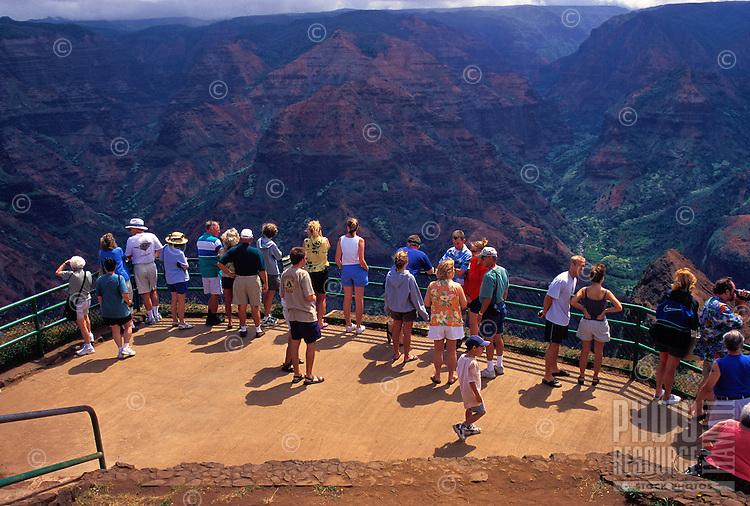 Tourists at Waimea Canyon lookout, Island of Kauai