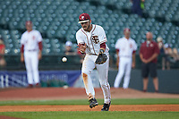 Florida State Seminoles third baseman Dylan Busby (28) fields a ground ball during the game against the Duke Blue Devils in the first semifinal of the 2017 ACC Baseball Championship at Louisville Slugger Field on May 27, 2017 in Louisville, Kentucky. The Seminoles defeated the Blue Devils 5-1. (Brian Westerholt/Four Seam Images)