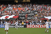 DC United fans Barra Brava cheering the team. DC United defeated the Los Angeles Galaxy 1-0 at RFK Stadium in Washington DC, Thursday August 9, 2007.