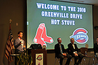 Boston Red Sox General Manager Mike Hazen speaks at the Greenville Drive's annual Hot Stove Event on Tuesday, January 26, 2016, in the ONE Building in Downtown Greenville, South Carolina. On stage with him are Drive General Manager Eric Jarinko and Drive Owner/President Craig Brown. (Tom Priddy/Four Seam Images)