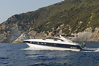 - yacht in navigation along the coast of Elba island....- yacht in navigazione lungo la costa dell'isola d'Elba