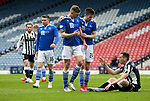 St Mirren v St Johnstone…09.05.21  Scottish Cup Semi-Final Hampden Park <br />Callum Booth and Liam Gordon go over to a dejected Conor McCarthy at full time<br />Picture by Graeme Hart.<br />Copyright Perthshire Picture Agency<br />Tel: 01738 623350  Mobile: 07990 594431