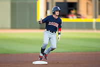 Andrew Benintendi (16) of the Salem Red Sox stops at second base after hitting a double against the Winston-Salem Dash at BB&T Ballpark on April 15, 2016 in Winston-Salem, North Carolina.  The Red Sox defeated the Dash 3-2.  (Brian Westerholt/Four Seam Images)