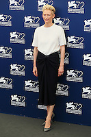 Tilda Swinton attends a photocall for the movie 'A Bigger Splash' during the 72nd Venice Film Festival at the Palazzo Del Cinema in Venice, Italy, September 6, 2015. <br /> UPDATE IMAGES PRESS/Stephen Richie