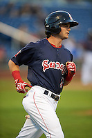 Portland Sea Dogs designated hitter Andrew Benintendi (18) runs to first during a game against the Reading Fightin Phils on May 31, 2016 at Hadlock Field in Portland, Maine.  Reading defeated Portland 6-4.  (Mike Janes/Four Seam Images)