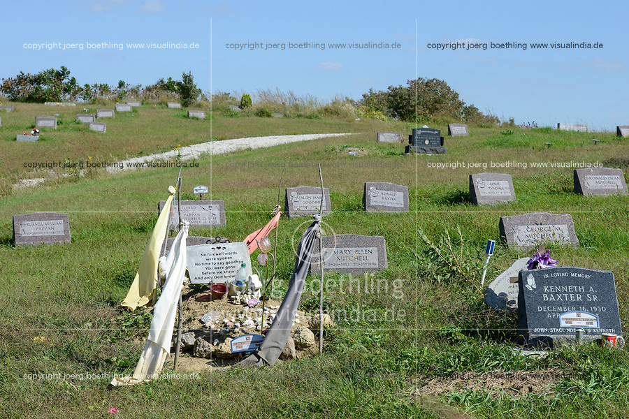 USA, Nebraska, Omaha Reservation, town Macy, cemetery with grave stones
