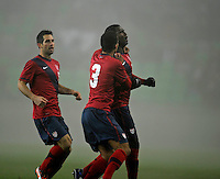Edson Buddle (re, USA) and Timothy Chandler (m, USA) celebrates after the Goal, during the friendly match Slovenia against USA at the Stozice Stadium in Ljubljana, Slovenia on November 15th, 2011.