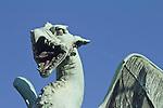 Slovenia, Ljubljana, Dragon Bridge, Bronze dragons, symbol of the city,Baroque architecture, Europe, European Union,