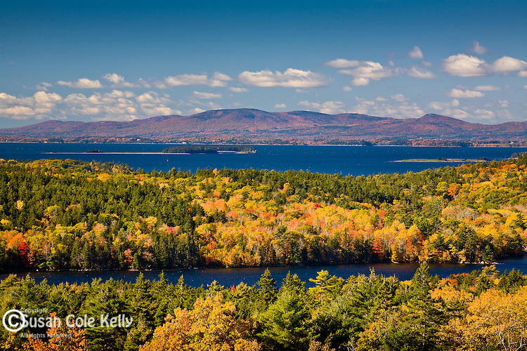 Autumn color stretches from the Blue hill Peninsula to the the Camden Hills, ME, USA