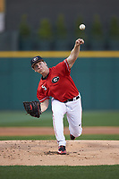Georgia Bulldogs starting pitcher Andrew Gist (5) delivers a pitch to the plate against the Charlotte 49ers at BB&T Ballpark on March 8, 2016 in Charlotte, North Carolina. The 49ers defeated the Bulldogs 15-4. (Brian Westerholt/Four Seam Images)
