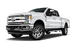 Stock pictures of low aggressive front three quarter view of 2017 Ford F-250 Lariat-Crew-Cab 4 Door Pickup Low Aggressive