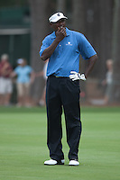 PONTE VEDRA BEACH, FL - MAY 6: Vijay Singh ponders his approach shot to the 16th green  during his practice round on Wednesday, May 6, 2009 for the Players Championship, beginning on Thursday, at TPC Sawgrass in Ponte Vedra Beach, Florida.