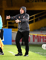 BOGOTÁ - COLOMBIA, 23-10-2018: Guillermo Sanguinetti, técnico de Independiente Santa Fe (COL), da instrucciones a los jugadores, durante partido de ida entre Independiente Santa Fe (COL) y Deportivo Cali (COL), de los cuartos de final, S1 por la Copa Conmebol Sudamericana 2018, en el estadio Nemesio Camacho El Campin, de la ciudad de Bogotá. / Guillermo Sanguinetti, coach of Independiente Santa Fe (COL), gives instructions to the players, during a match of the first leg between Independiente Santa Fe (COL) and Deportivo Cali (COL), of the quarterfinals, S1 for the Conmebol Sudamericana Cup 2018 in the Nemesio Camacho El Campin stadium in Bogota city. Photo: VizzorImage / Luis Ramírez / Staff.