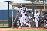 Detroit Tigers Iverson Leonardo (39) bats during an Extended Spring Training game against the New York Yankees on June 19, 2021 at Tigertown in Lakeland, Florida.  (Mike Janes/Four Seam Images)