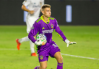 CARSON, CA - OCTOBER 14: Jonathan Klinsmann #33 GK of Los Angeles Galaxy slowing down play during a game between San Jose Earthquakes and Los Angeles Galaxy at Dignity Heath Sports Park on October 14, 2020 in Carson, California.