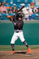 San Jose Giants center fielder Bryce Johnson (28) at bat during a California League game against the Lancaster JetHawks at San Jose Municipal Stadium on May 12, 2018 in San Jose, California. Lancaster defeated San Jose 7-6. (Zachary Lucy/Four Seam Images)