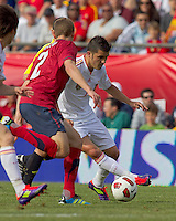 Spain forward David Villa (7) dribbles. In a friendly match, Spain defeated USA, 4-0, at Gillette Stadium on June 4, 2011.