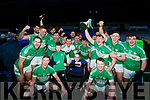 Michael O'Brien and Joanne O'Riordan celebrate with Legion players celebrate after winning the O'Donoghue cup final after defeating Dr Crokes at Fitzgerald Stadium on Sunday.