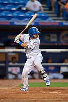 St. Lucie Mets third baseman Michael Paez (5) at bat during the first game of a doubleheader against the Charlotte Stone Crabs on April 24, 2018 at First Data Field in Port St. Lucie, Florida.  St. Lucie defeated Charlotte 5-3.  (Mike Janes/Four Seam Images)